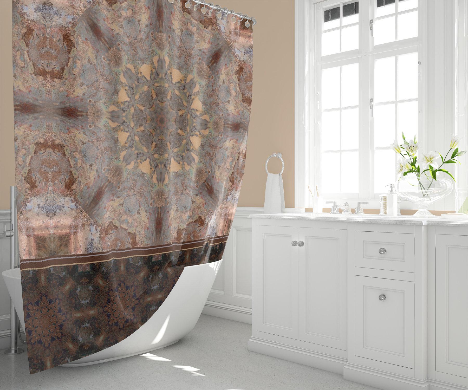 Boho Copper Mandala Shower Curtain Brown And Caramel Zen Bathroom Decor