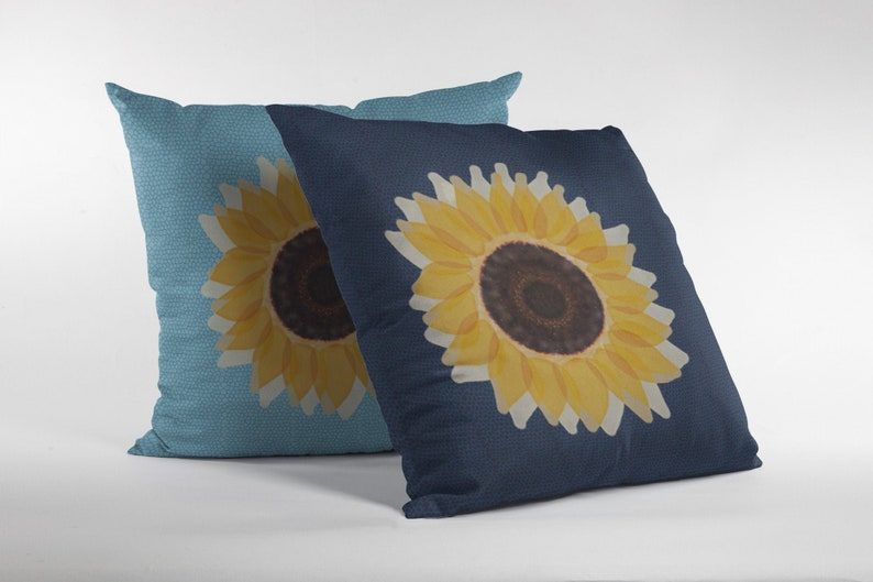 Primitive Sunflower Blue Honeycomb Pattern Throw Pillow Cover image 0