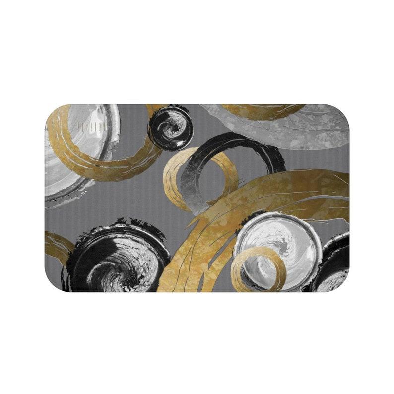 Modern Elegant Abstract Pattern Bathroom Home Decor Big Dirty Gold Coloured Rings Black And White Circle Bath Mat