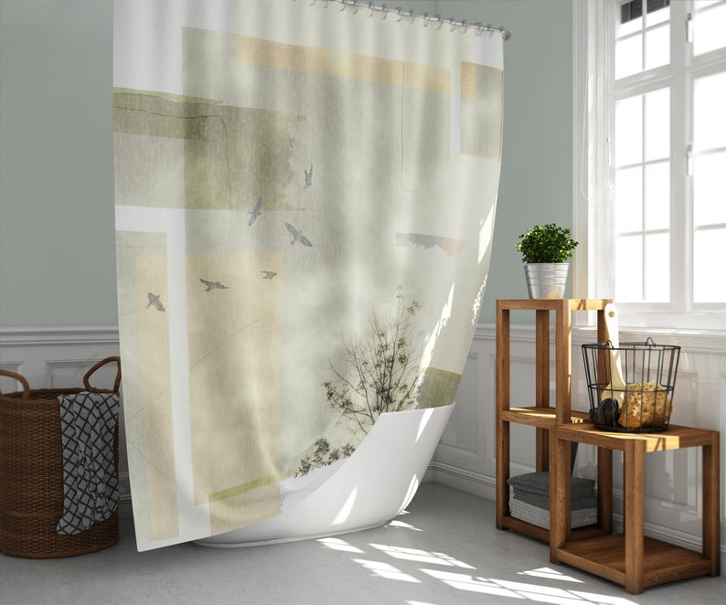 Tree Birds Geometric Shower Curtain Modern Nature Green Gold image 0