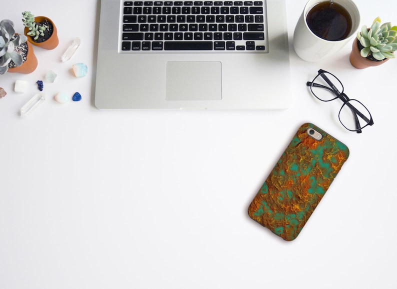 sports shoes ff99e 6d73d Turquoise Green Copper Color Phone Case, Graphic Rock Pattern Hard Durable  Plastic Glossy Printed Cell Case for iPhone or Samsung Models