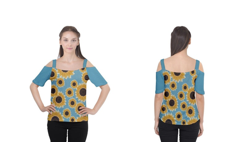 Golden Sunflowers Blue Honeycomb Print Off Shoulder Top Size image 0