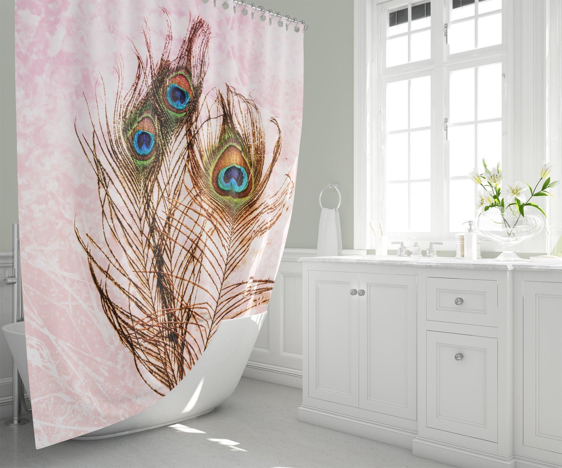 Peacock Feathers Pink Orange Mandala Fabric Shower Curtain Boho Home Decor