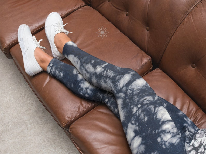 Dark Blue White Tree Shadows Leggings Compression Fit in 5 image 0