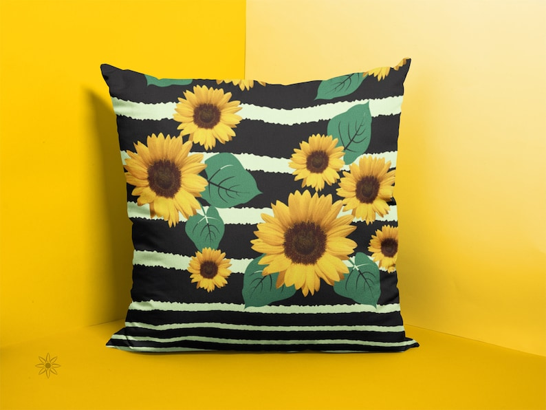 Sunflowers and Stripes Summer Pillow Cover Throw Cushion image 0