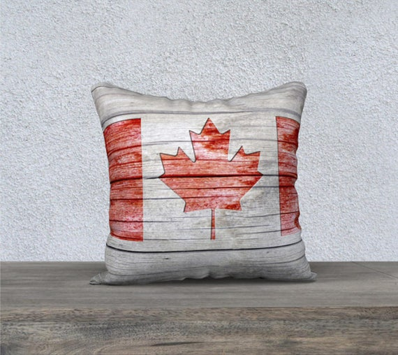 Rustic Canadian Flag Pillow for Patriotic Decor by artbyjocelyn