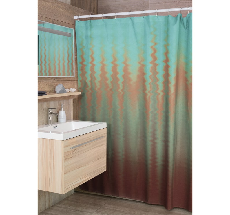 Wavy Ombre Teal Burnt Orange Burgundy Fabric Shower Curtain image 0