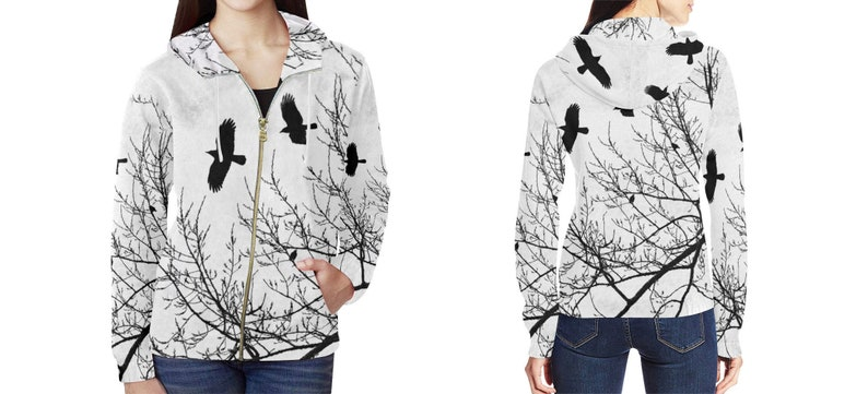 Crows and Trees Women's Hoodie Zipper Front White and image 0