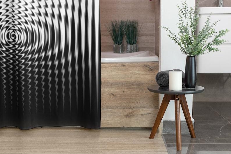 Circles Ripple Black White Fabric Shower Curtain Modern image 0