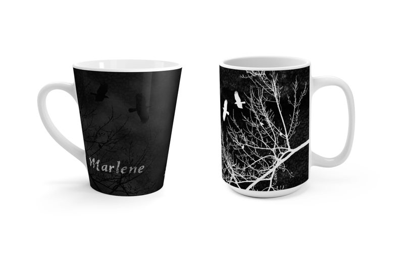 Midnight Gothic Crows and Trees Coffee Mug Personalized with image 0