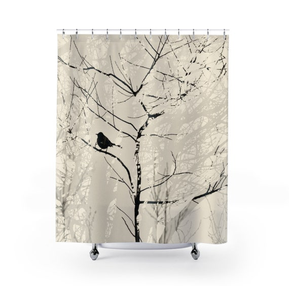 Trees And Mocking Bird Cream Brown Shower Curtain Negative