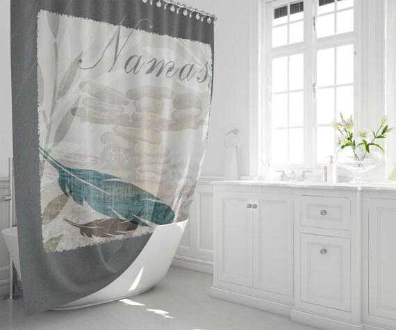 Zen Shower Curtain Namaste Greeting Stacked Beach Stones And