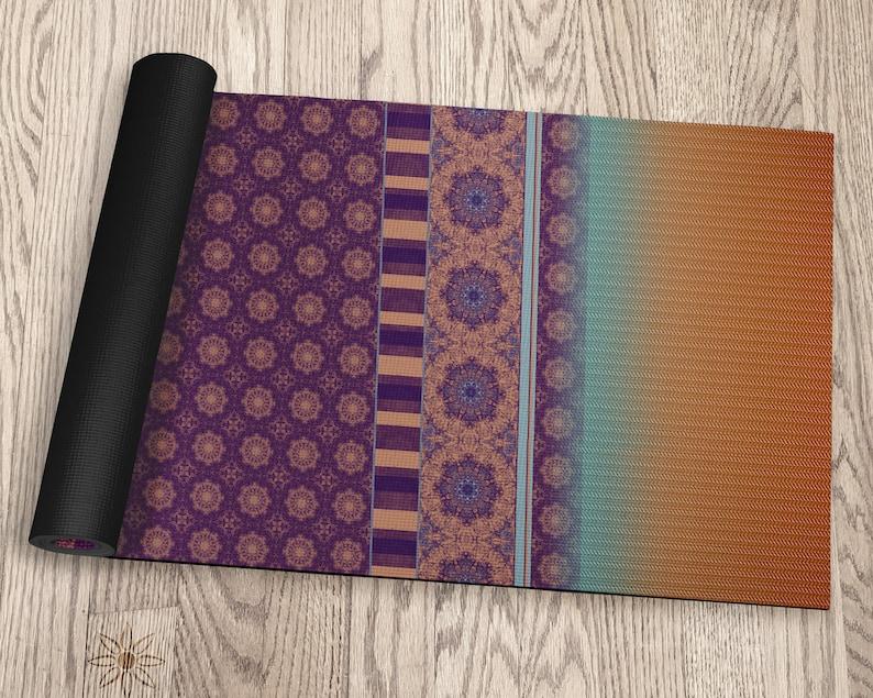 Boho Yoga Mat Purple Burnt Orange Turquoise Mandala Stripe image 0