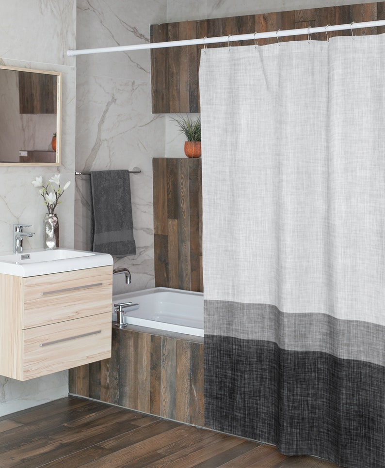Grey Simple Stripe Shower Curtain for the Man Cave Water image 0