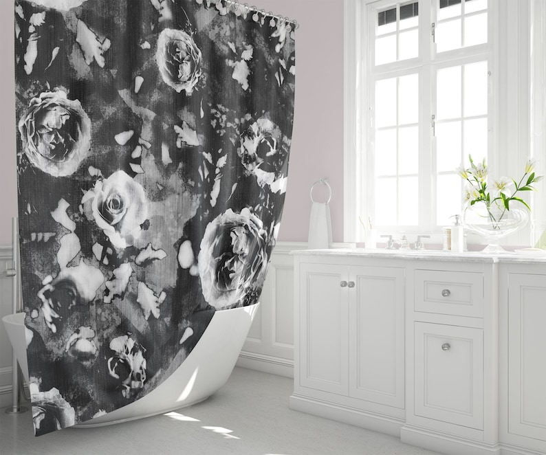Black and White Roses Shower Curtain Monochrome Floral Home image 0