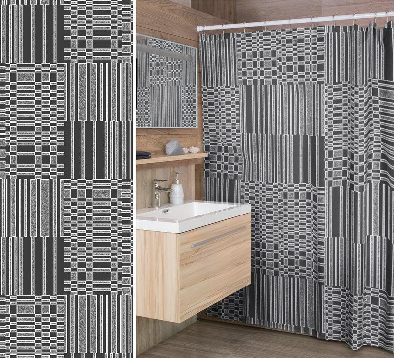 Grey Bars and Splatter Shower Curtain Modern Geometric Tile image 0