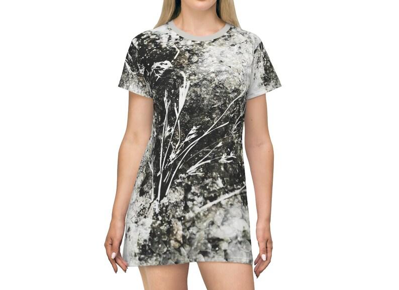 Grunge Nature Short T-shirt Dress Black White Grey Dried image 0