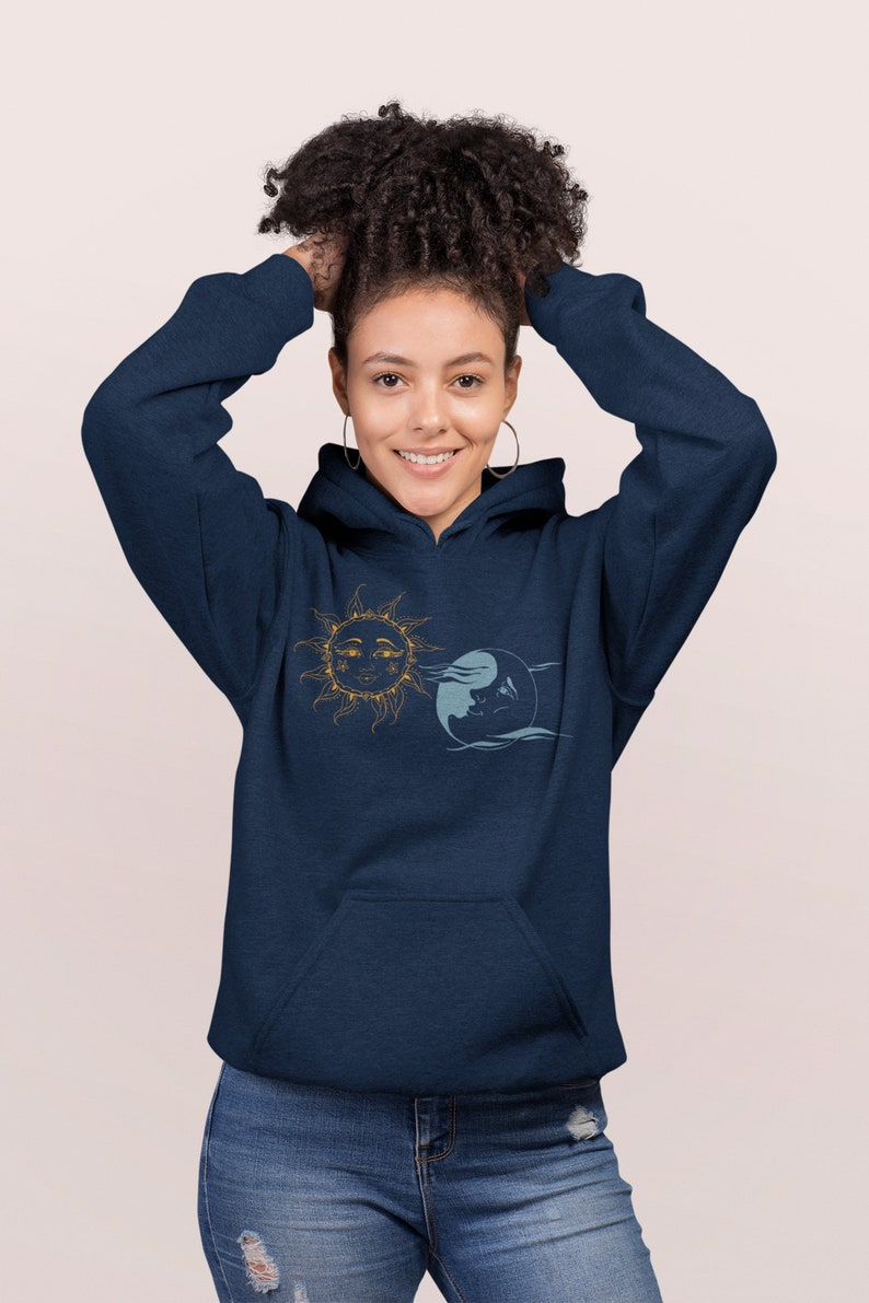 Sun and Moon Faces Celestial Love Hooded Sweatshirt Astrology image 0