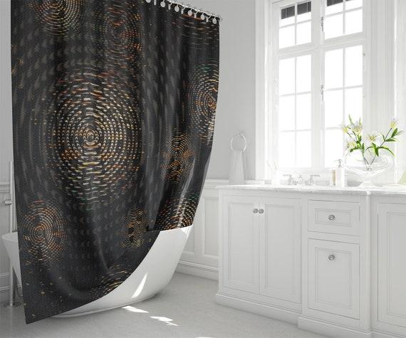 Dark Fabric Shower Curtain Big Weave Circles Pattern Man Cave