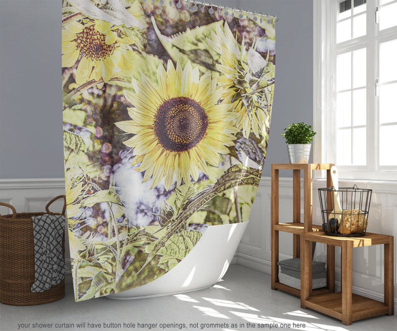 Sunflower Garden Fabric Shower Curtain Graphic Texture Photo image 0