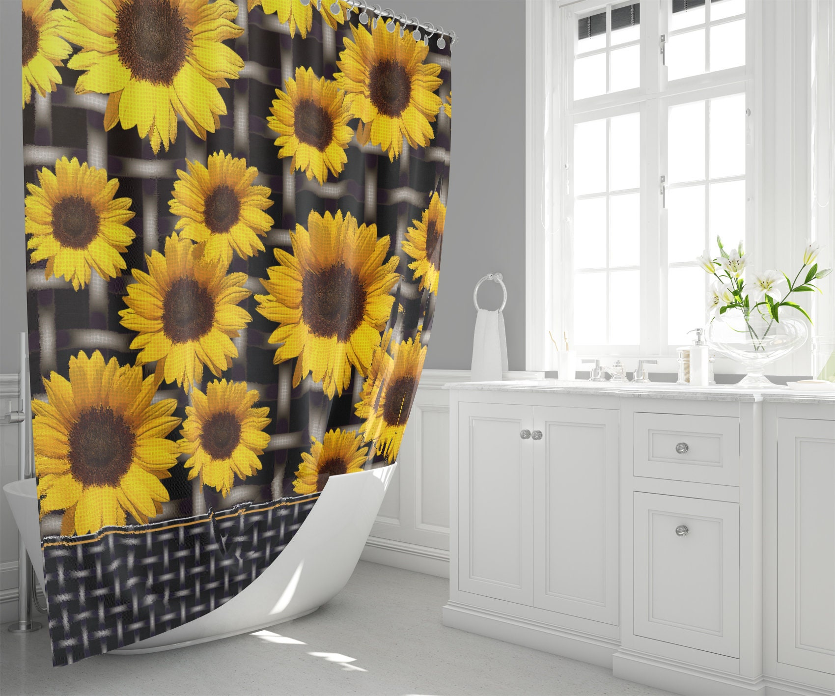 Big Sunflowers And Grid Fabric Shower Curtain Floral And Industrial Chic Mixed Print Home Decor
