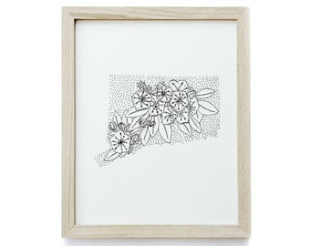 Connecticut> Mountain Laurel> State Flower Drawing> Giclee Print