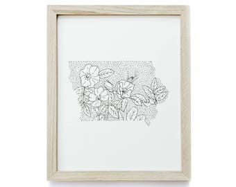 Iowa> Wild Prairie Rose> State Flower Drawing> Giclee Print