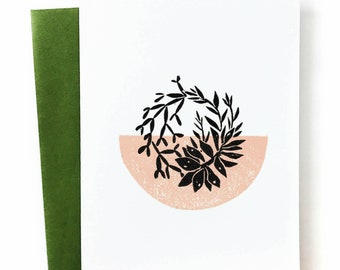 Succulents - Blank Greeting Card