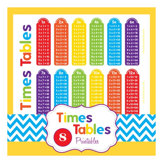 Multiplication Tables Times Tables 8 Printable Pages Etsy