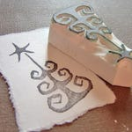 quirky christmas tree - hand carved stamp, FLOOR MODEL CLEARANCE!