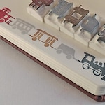 NEW ITEM -  old-timey choo-choo train, a five-piece set - hand carved stamps