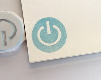 power button - hand carved stamp