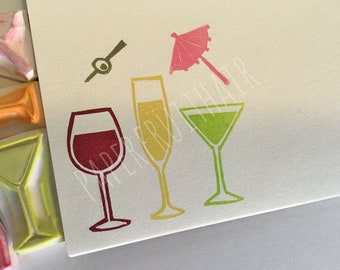 cocktail hour - hand carved stamps - five piece set