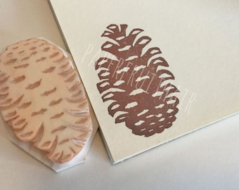 mod pine cone - hand carved stamp