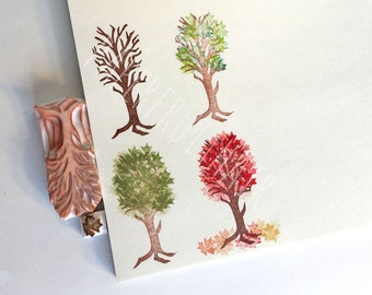 four mod seasons  - hand carved stamps - two piece set