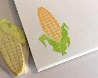 corn on the cob - hand carved stamp