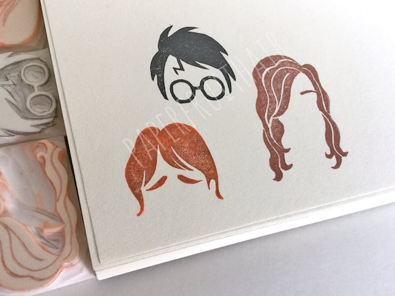 Hand carved rubber stamp Snape from Harry Potter