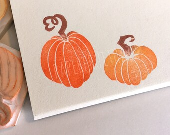 harvest pumpkins - hand carved stamps - two piece set