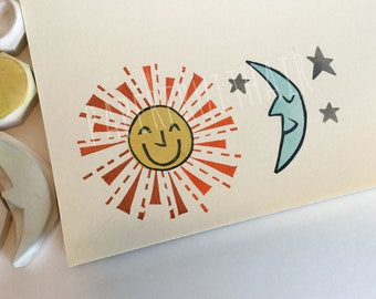 the sun, the moon, and the stars - hand carved stamps - seven piece set