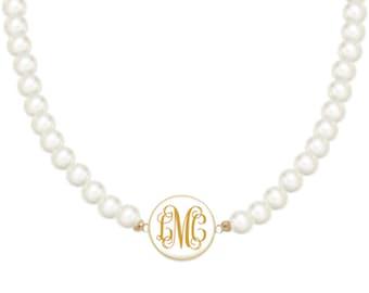 Monogram Pearl Necklace, White Charm