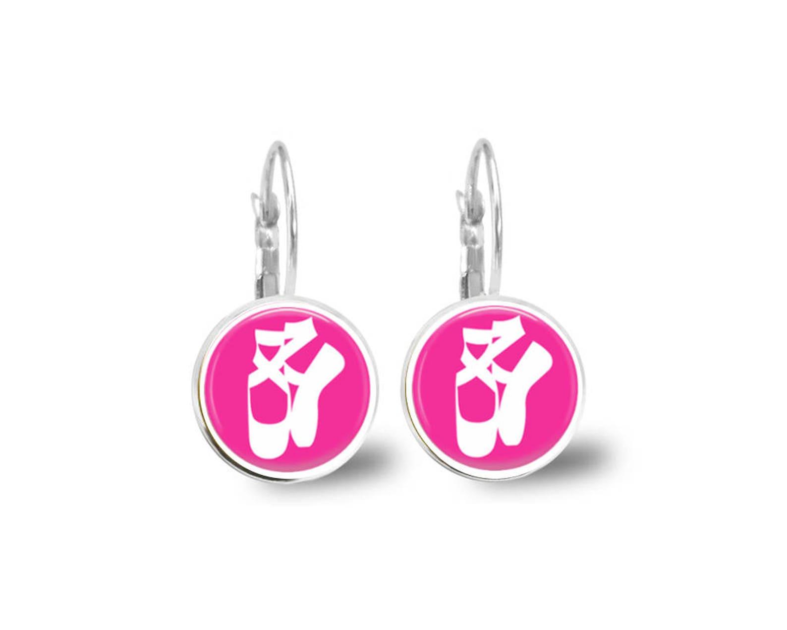 ballet earrings, dance earrings, studs, dangles, dance gift, dance teacher, pink, monogram earrings, name earrings, personalized