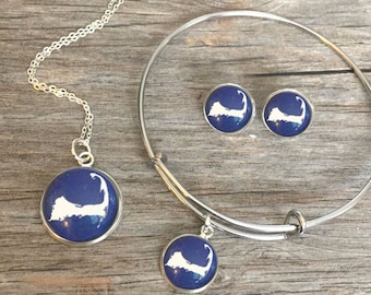 CAPE COD (Or Any Location) JEWELRY, Location Jewelry, Cape Cod Jewelry, Cape Cod Necklace, Cape Cod Bracelet, Earrings, Cape Cod Keychain