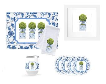 Topiary Tea Towel, Original Watercolor Artwork Print, The Good Life™ Collection