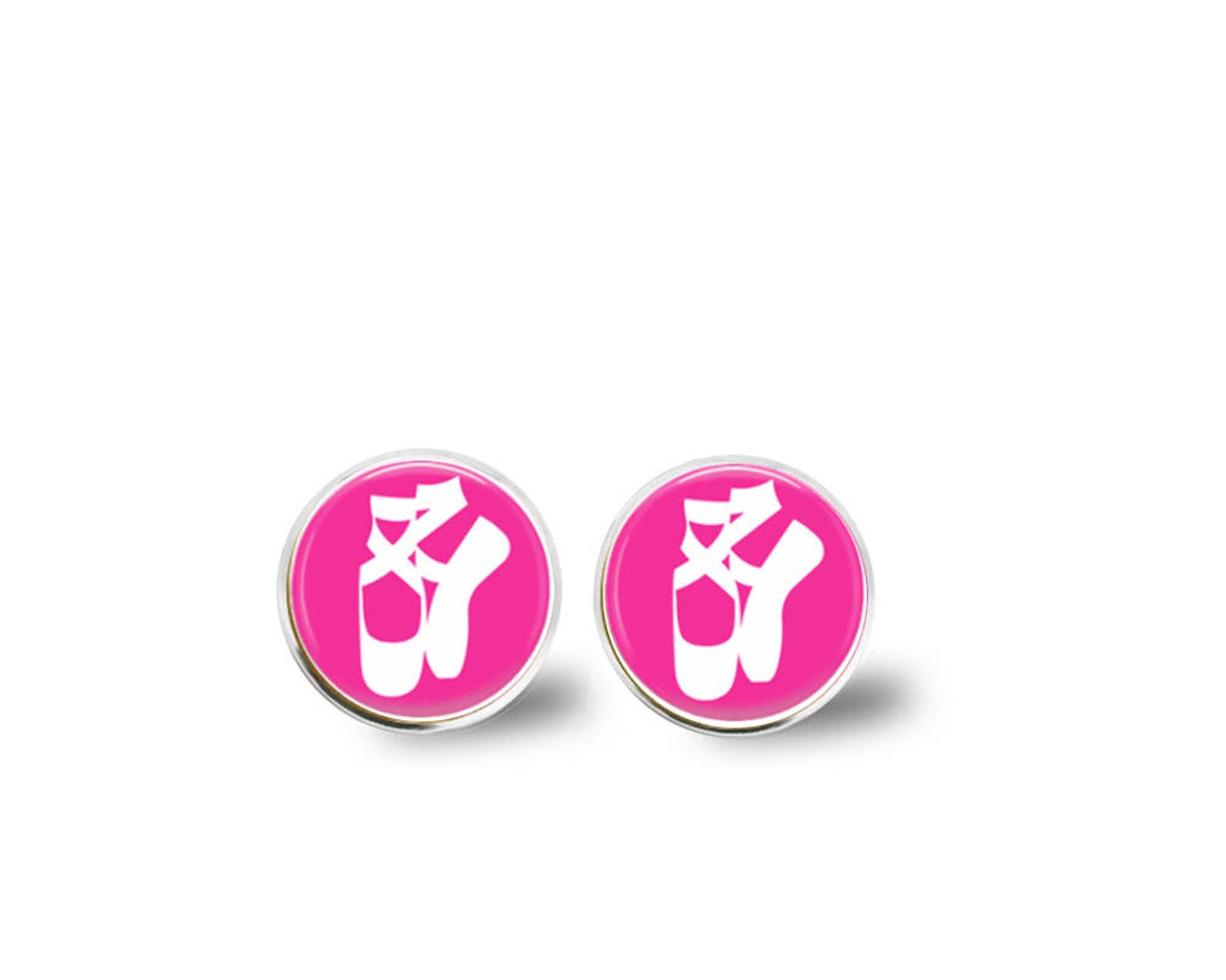 ballet earrings, dance earrings, studs, dangles, dance gift, dance teacher, pink, monogram earrings, name earrings, personalized