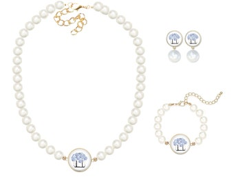 Hydrangea Tote Pearl Jewelry Set, As Seen In Southern Lady Magazine, The Good Life™ Collection