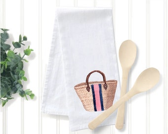Straw Bag Tea Towel, Original Watercolor Artwork Print, The Good Life™ Collection