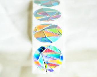 Embossed Foil Seals {50} Silver Foil Stickers {25mm} | Envelope Seals | Hologram Embossed Seals | Event Invitations | Gem Texture Seals