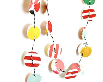 Confetti Paper Garland | Paper Circle Garland | Paper Decoration | Christmas Festoon | Holiday Decor | Teacher Gift under 25