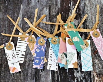 Mini Folded Skinny Tags {12} Mixed | Summer Party Tags | Mini Retro Gift Tags | Scrapbooking Journaling | Scrapbooking Tags | Summer Party