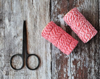Chunky Bakers Twine {20m} 12ply | Pink + Red Stripe Cotton Twine | 2 Colour Twine | DIY Supplies | Holiday Twine | Pretty Stripe Twine